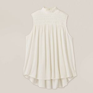 A New Day Sleeveless Smocked Linen Top Cream XS